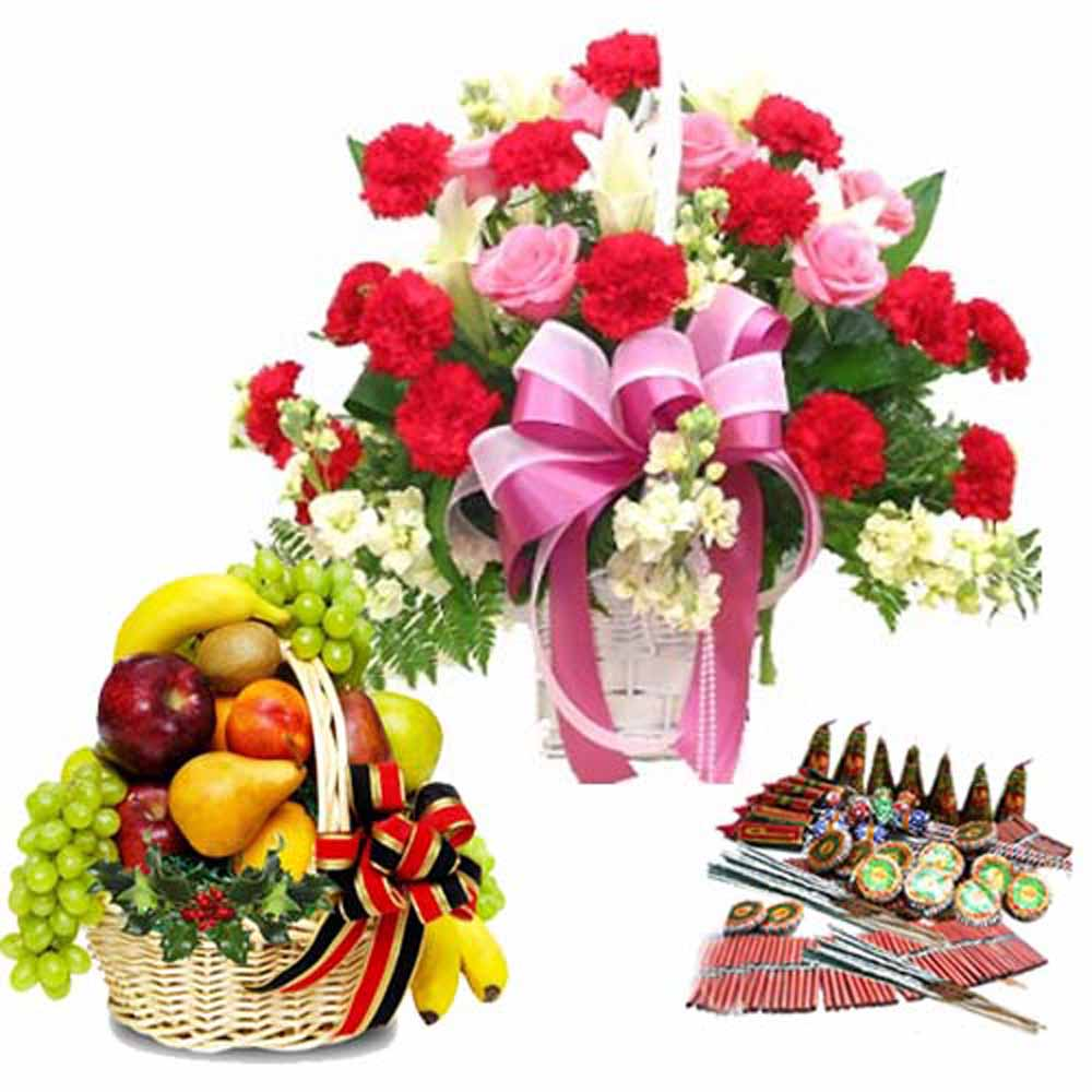 Crackers & More..-Diwali Crackers with Fresh Flowers and Fruits