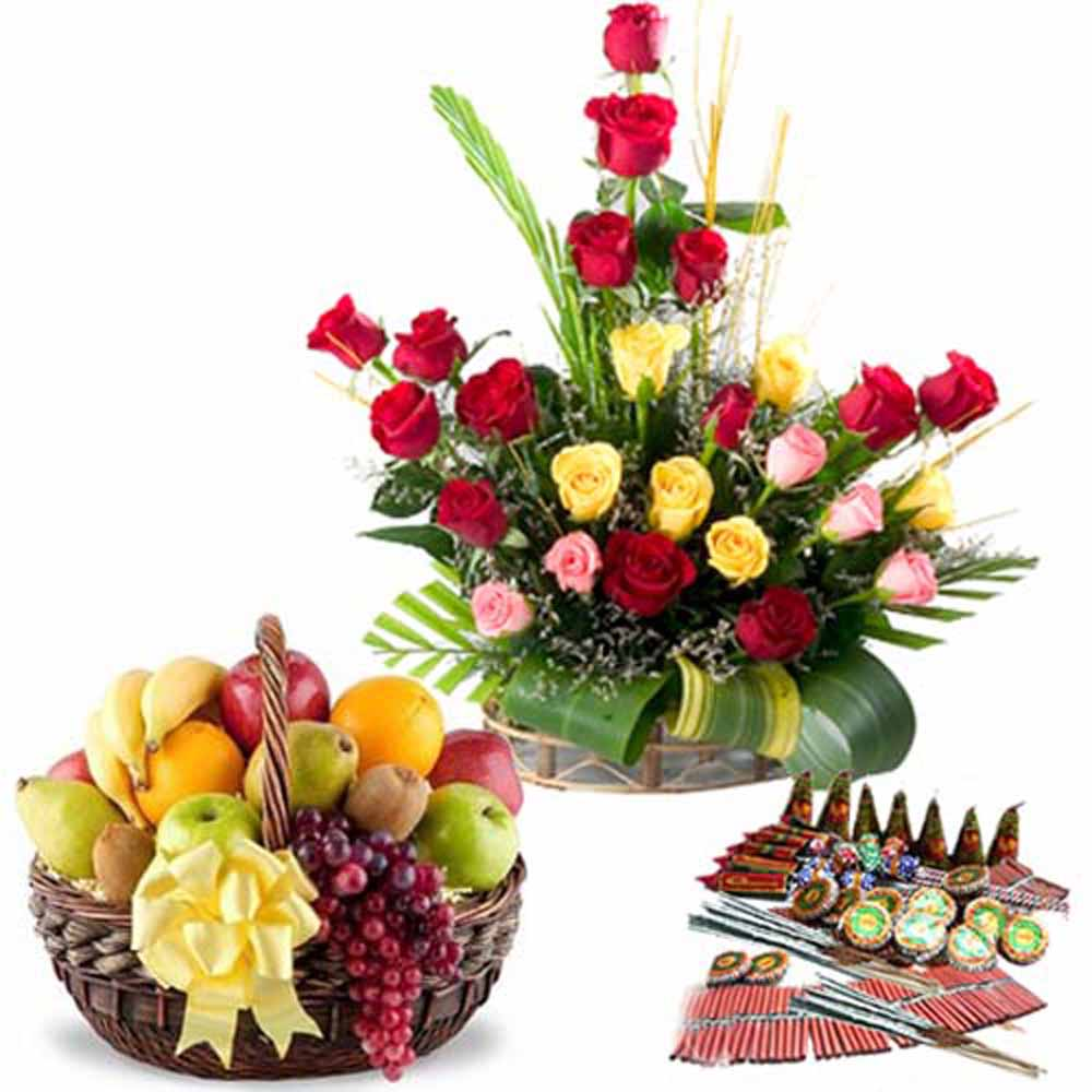 Crackers & More..-Fresh Roses with Fruits Diwali Crackers Combo
