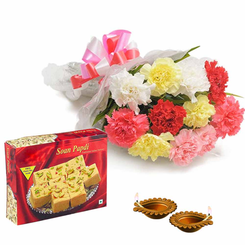 Combo of Diwali Diya with Carnations and Box of Soan Papdi
