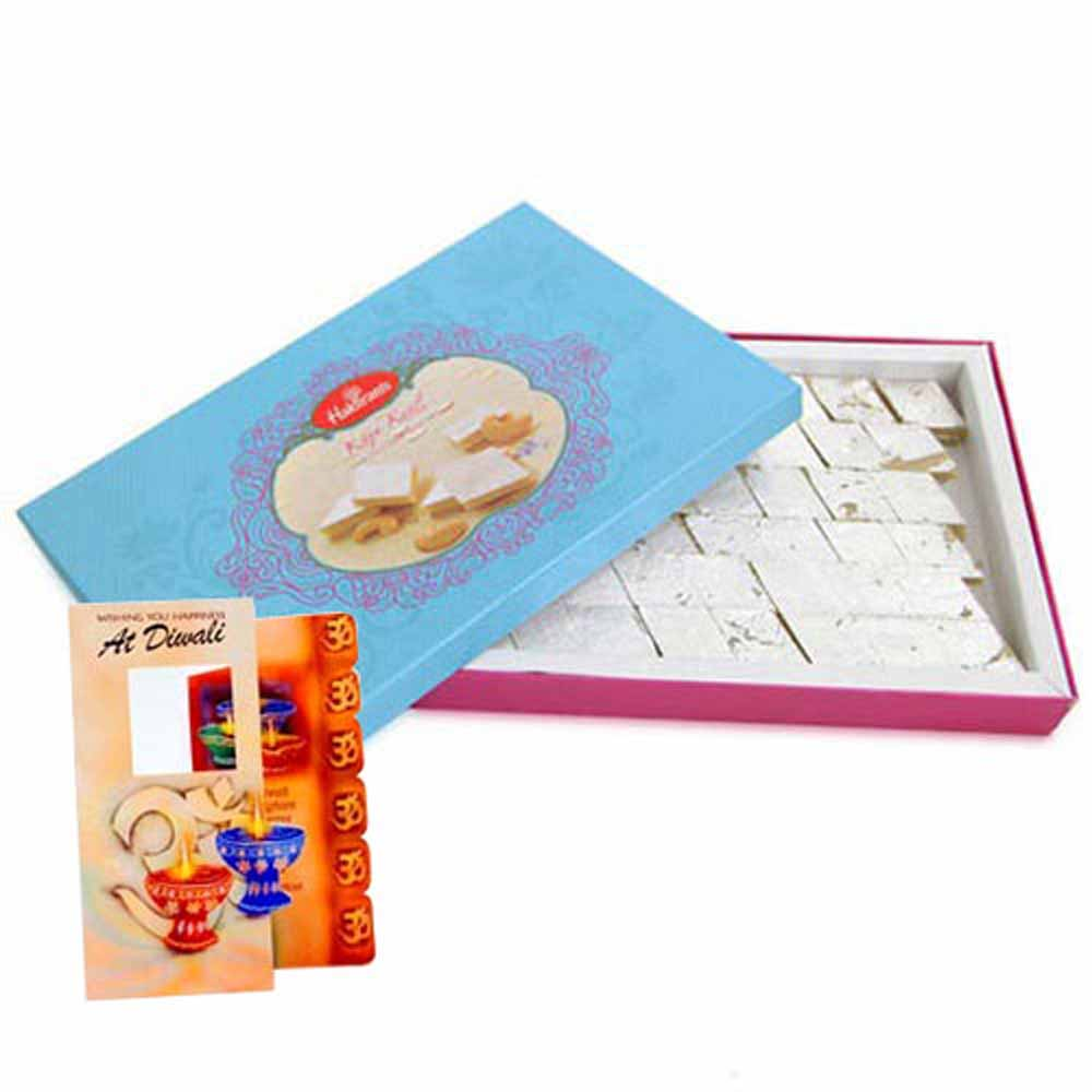 Flowers with Chocolates-Diwali Card with Kaju Katli Box