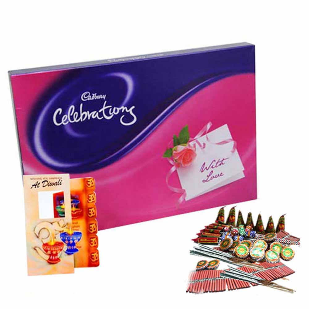 Crackers & More..-Diwali Gift of Diwali Card and Cadbury Celebration Chocolate with Fire crackers