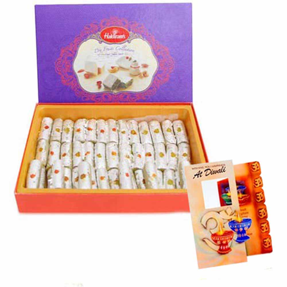 Flowers and Mithai-Box of Kaju Roll Sweet with Diwali Card