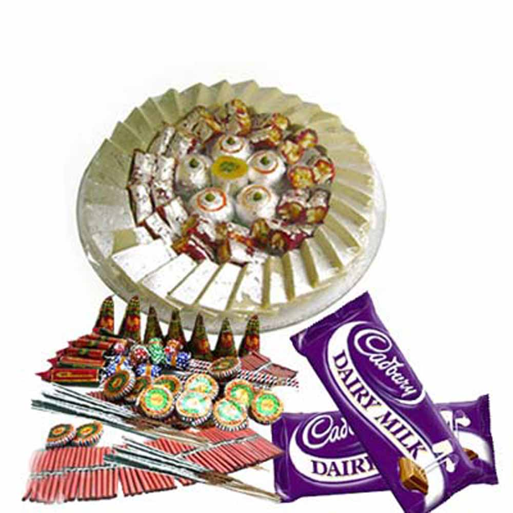 Crackers & More..-Diwali Gift of Chocolates and Sweet with Firecracker