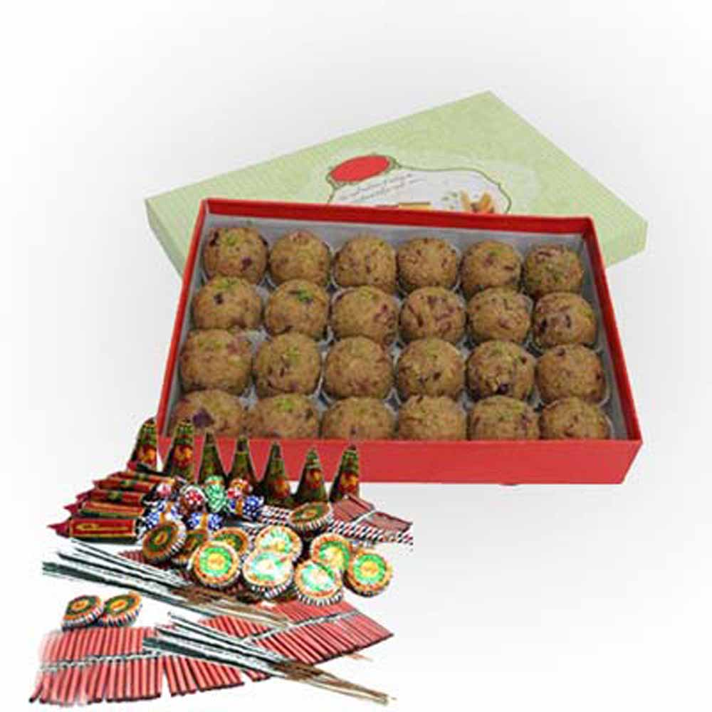 Crackers & More..-Diwali Hamper of Besan Ladoo and Fire crackers