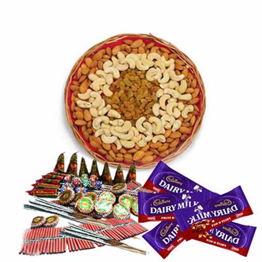 Crackers & More..-Diwali Combo of Crackers with Dry fruits and Chocolates