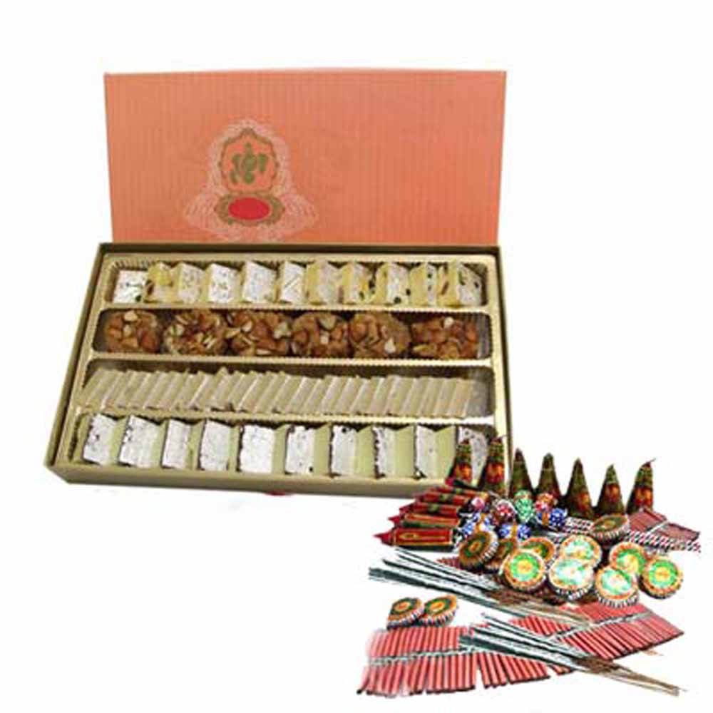 Crackers & More..-Diwali Special Kaju Katli Sweet with Firecrackers