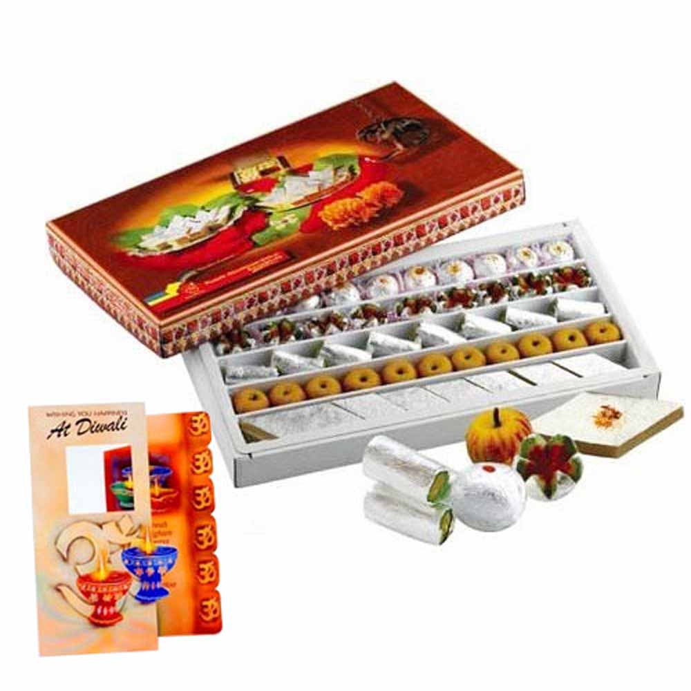 Flowers and Mithai-Mix Sweets Box and Diwali Card Combo