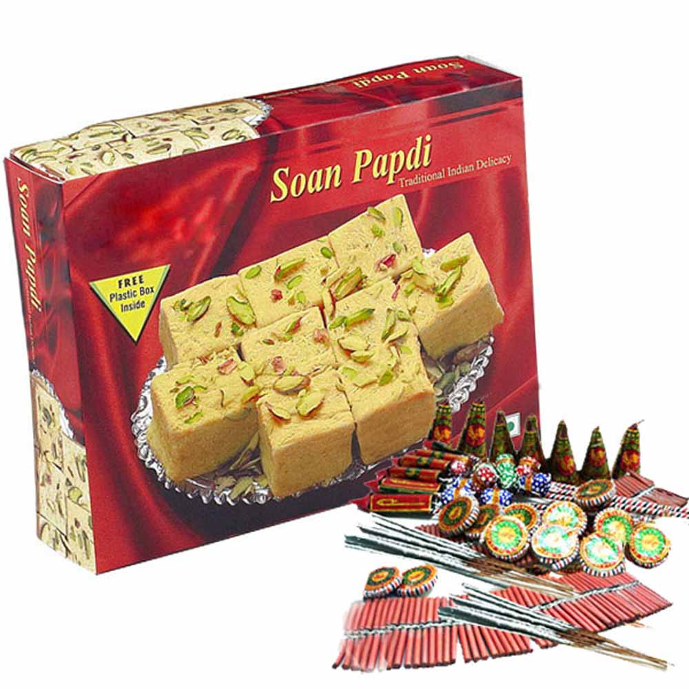 Diwali Gift of Soan Papdi with Crackers