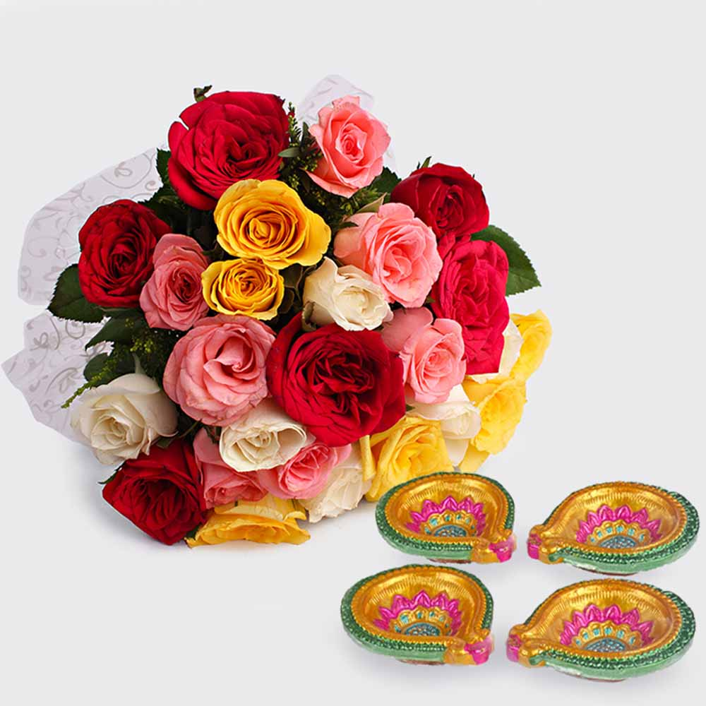 Flowers with Chocolates-Lighting with Diwali Diyas and Roses