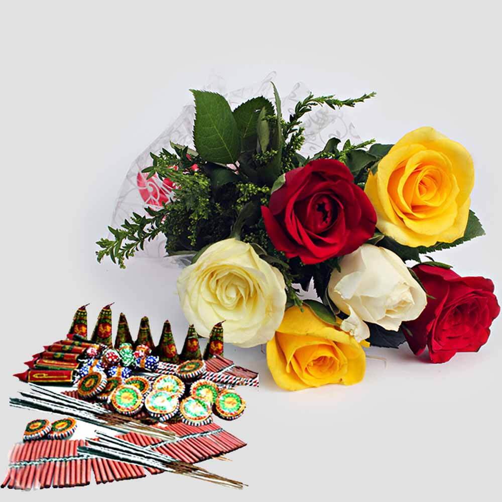 Crackers & More..-Bouquet of Mix Roses with Diwali Crackers