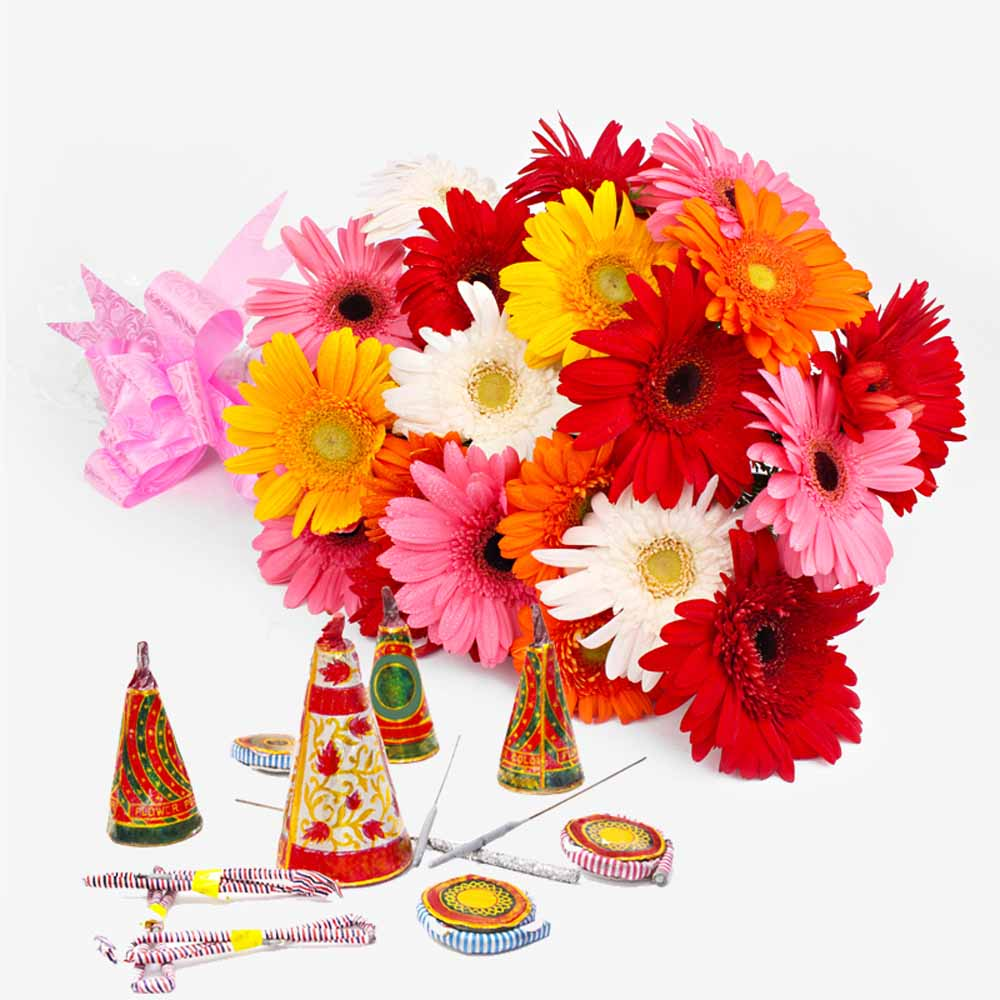 Crackers & More..-Bouquet of 20 Colorful Gerberas with Diwali Mix Fire crackers