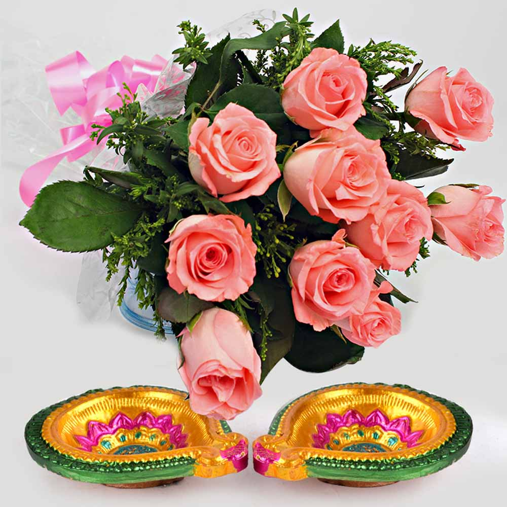Flowers with Chocolates-Pink Roses Bouquet with Diwali Diyas