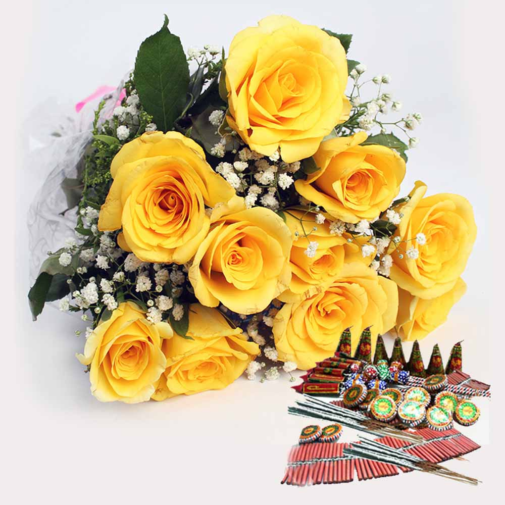 Crackers & More..-Yellow Roses Bouquet with Crackers