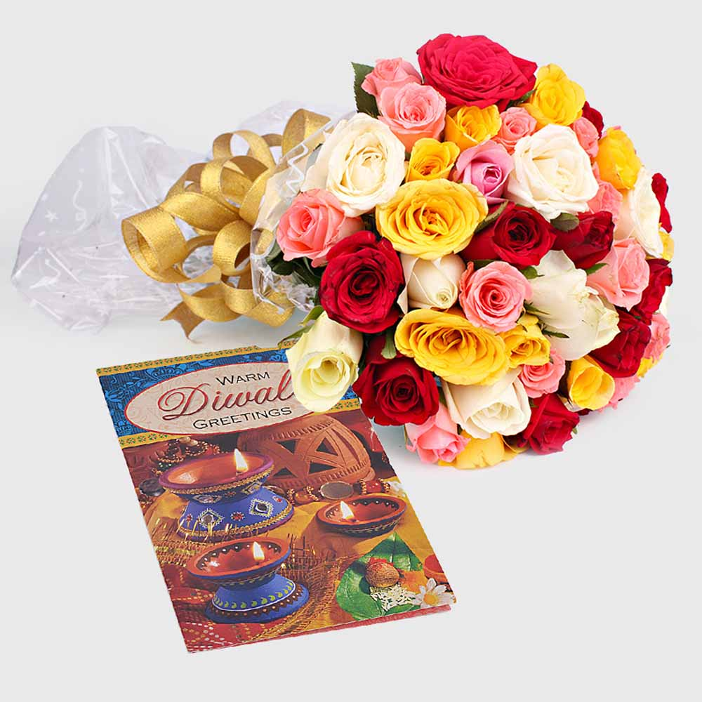 Flowers with Chocolates-Diwali Gift of 50 Mix Roses with Card