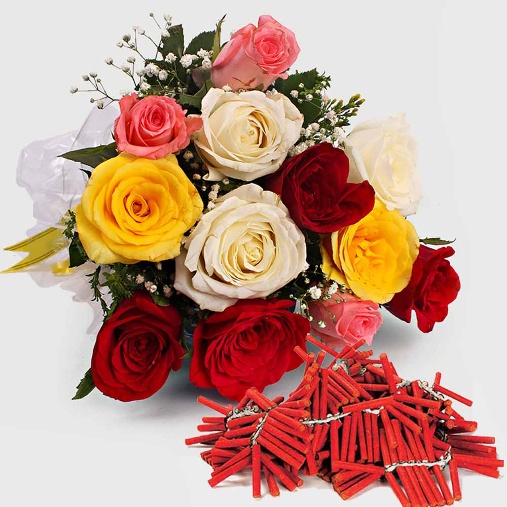 Diwali Combo Roses Bouquet with Fire Crackers