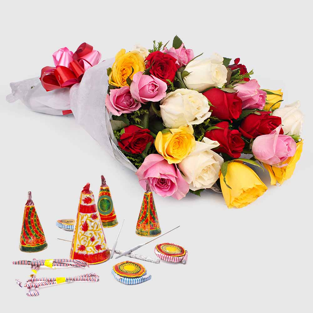 Crackers & More..-Diwali Hamper of Colorful Roses with Mix Fire crackers
