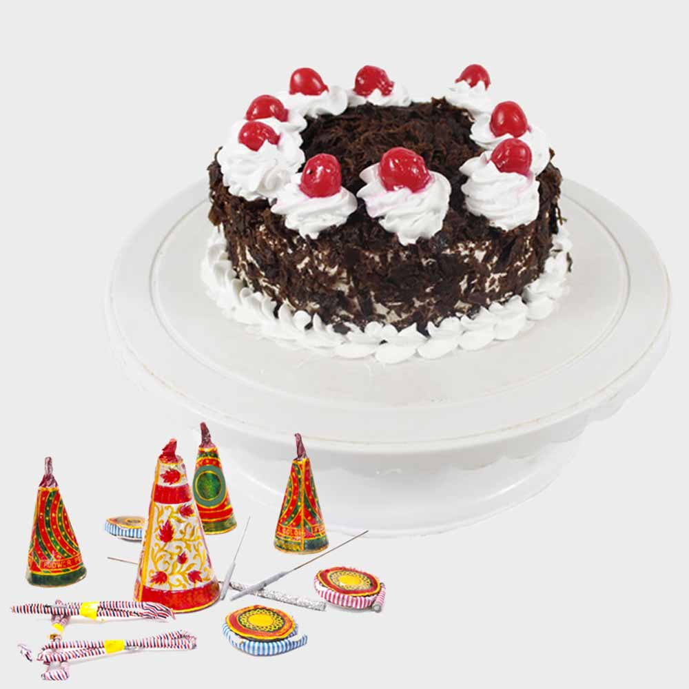 Crackers & More..-Black Forest Cake with Diwali Firecrackers