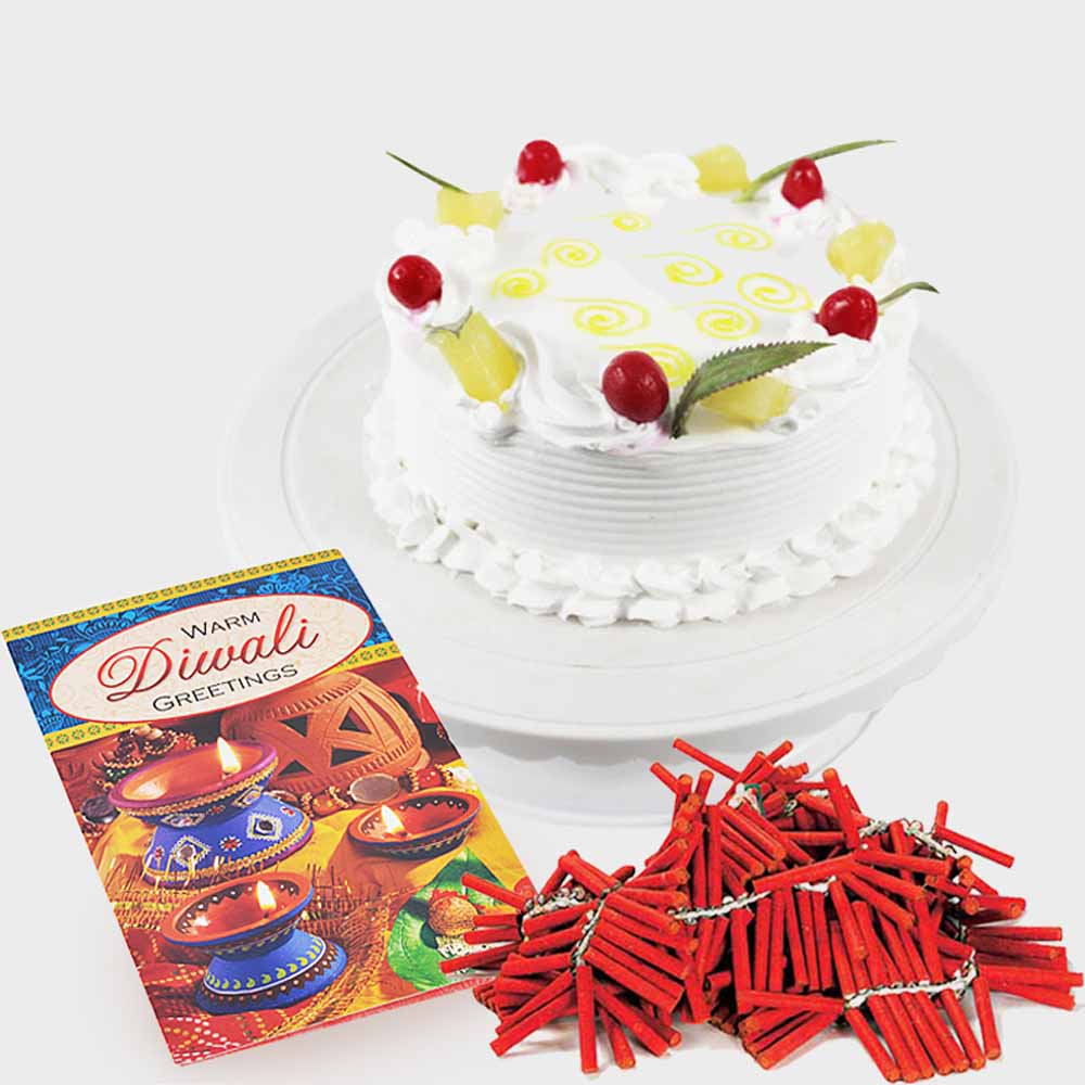 Crackers & More..-Diwali Card with Pineapple Cake and Fire Crackers
