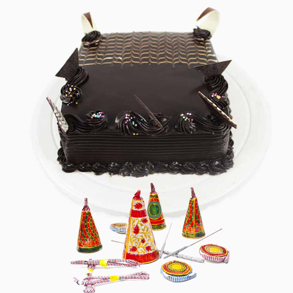 Crackers & More..-Square Chocolate Cake and Fire Crackers