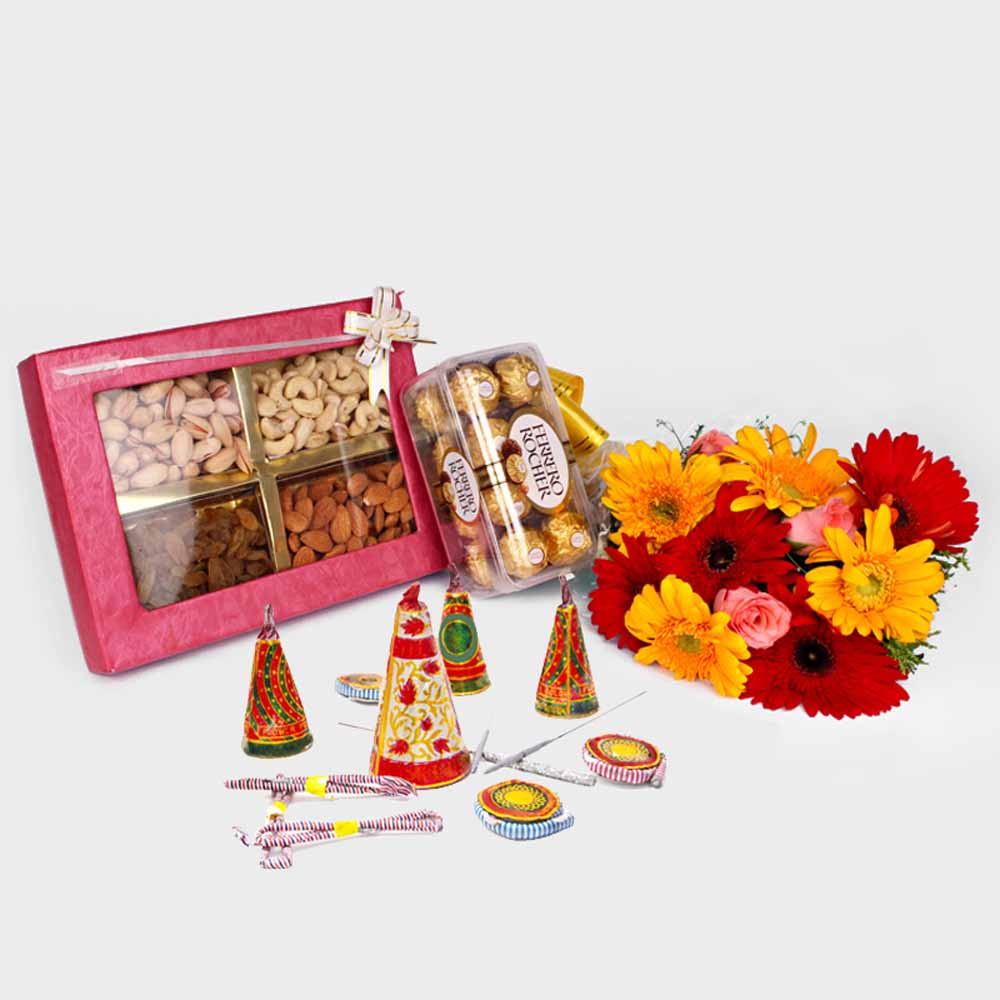 Diwali Combo of Flowers Bouquet with Crackers Dry fruits and Rocher Chocolates