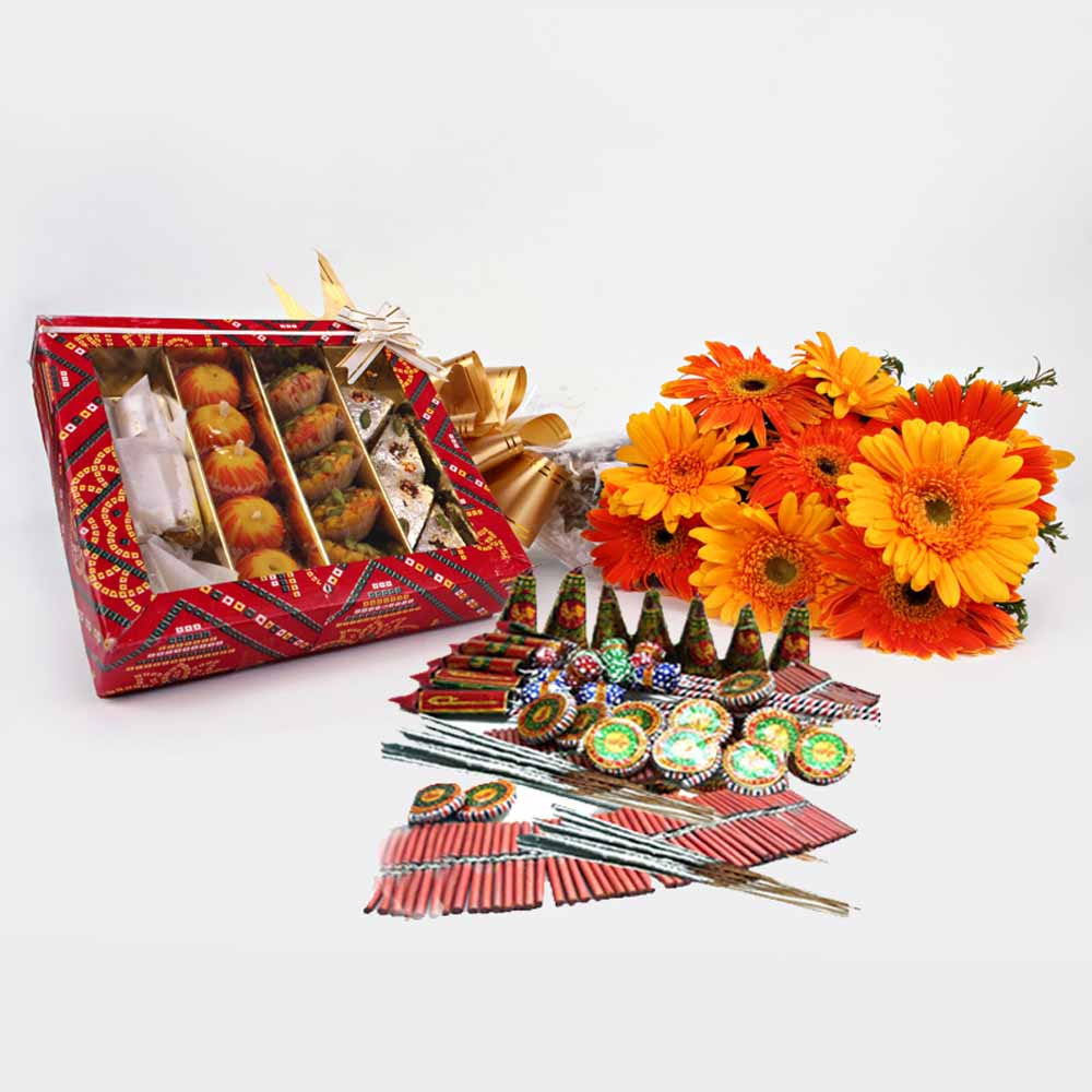 Crackers & More..-Diwali Gift of Fresh Gerberas with Sweets and Crackers