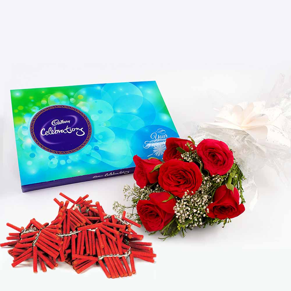 Flowers with Chocolates-Diwali Special Red Relish of gifts