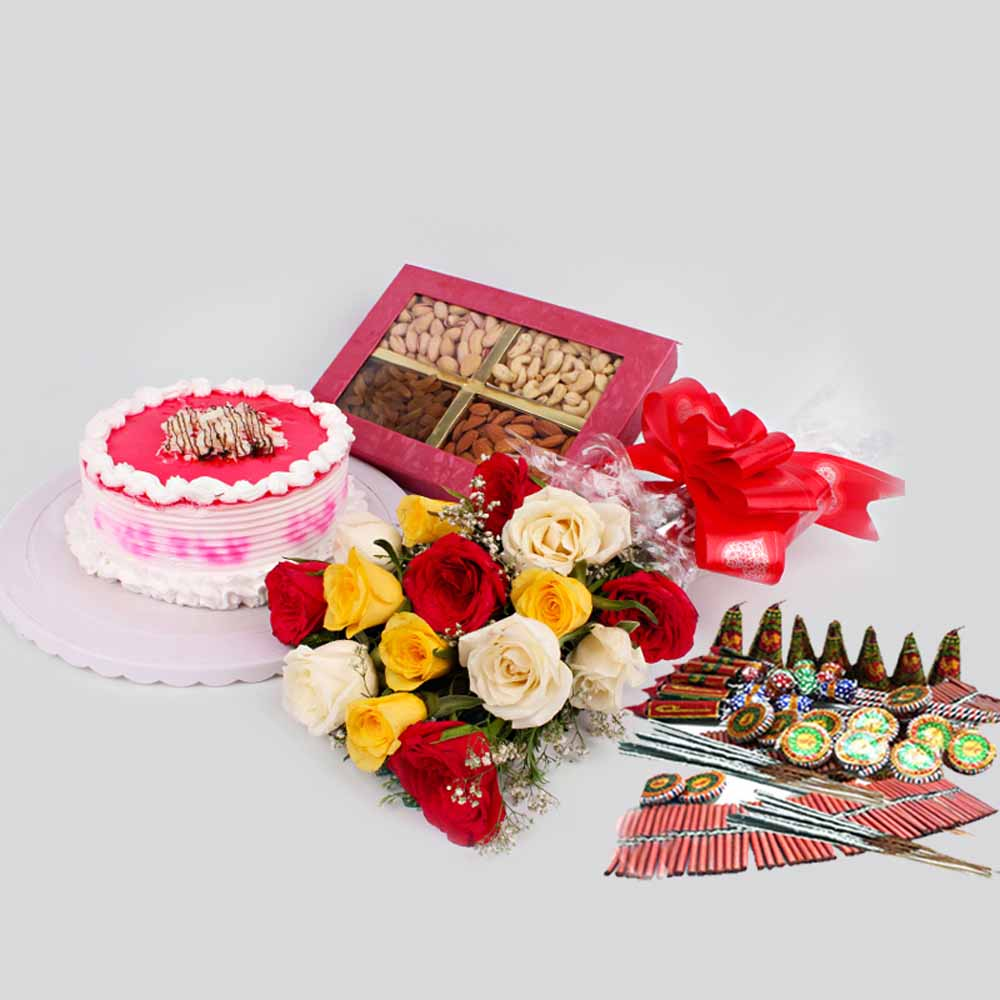 Flowers & Cakes-Diwali Gift Hamper of Cakes with Mix Roses and Dry Fruits