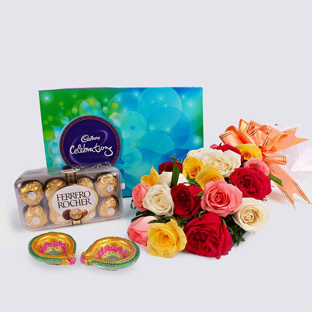 Diwali Combo of Colorful Roses with Rocher and Cadbury Celebration Chocolates