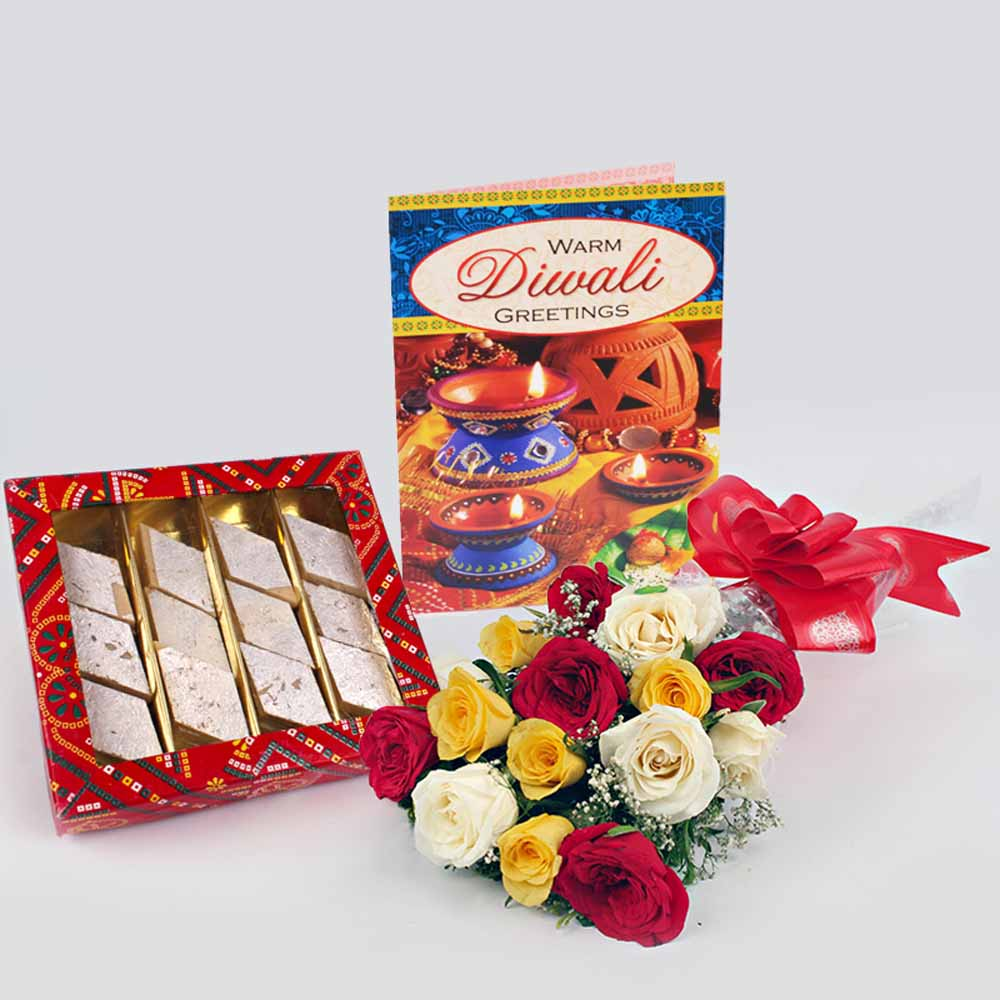Diwali Gift of Sweet, Mix Roses and Diwali Card