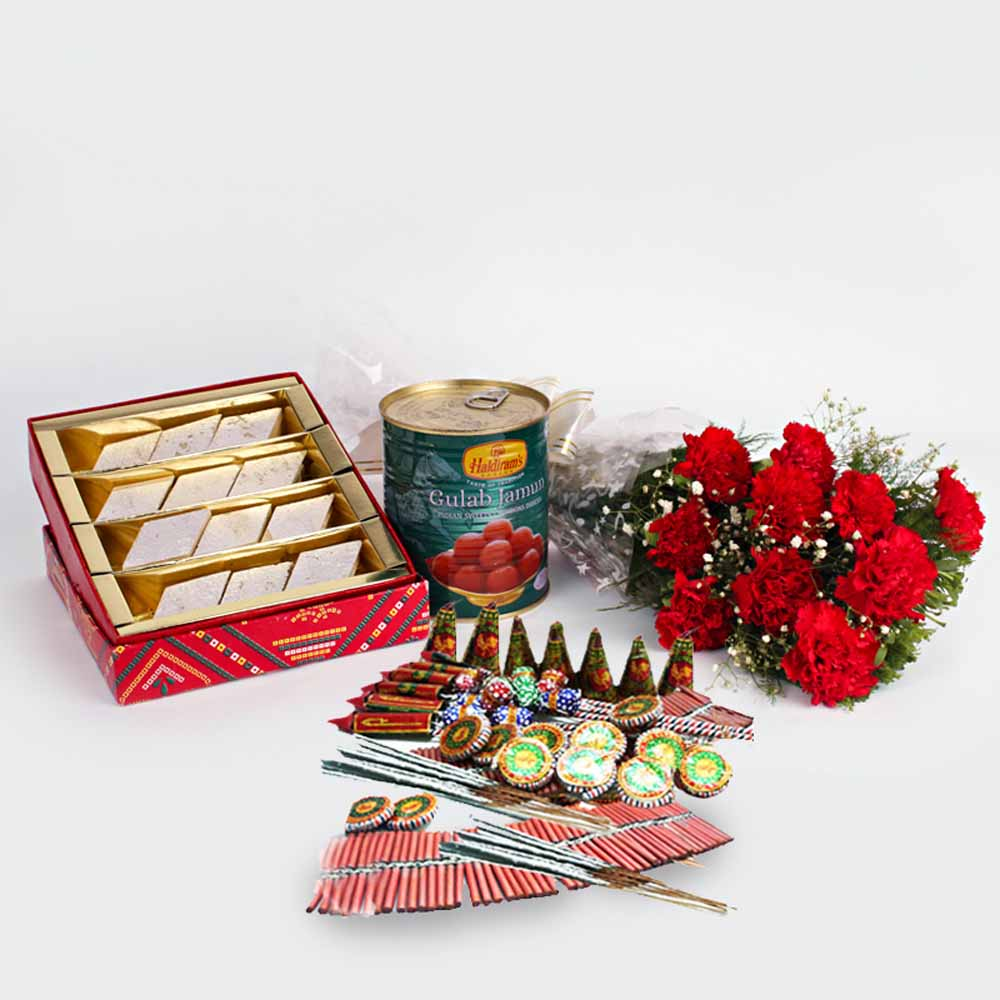 Crackers & More..-Diwali Best Gift of Crackers and Red Carnations Bunch with Kaju Katli sweet
