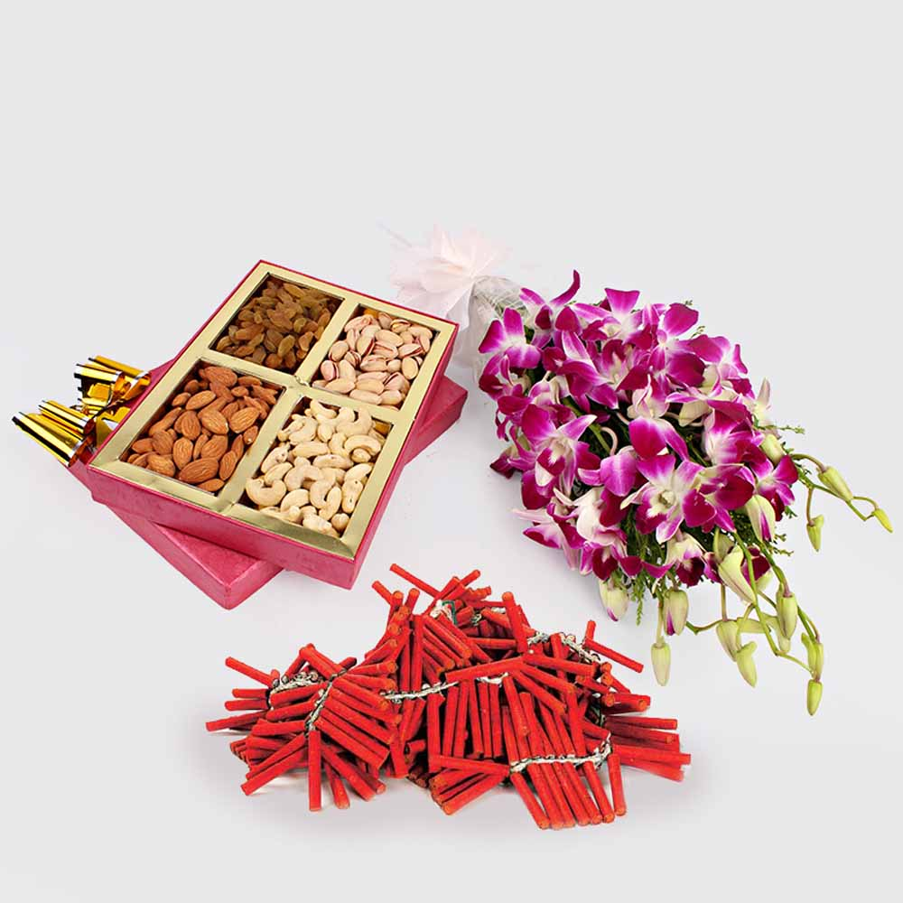 Crackers & More..-Dry Fruits with Orchid Flowers and Crackers