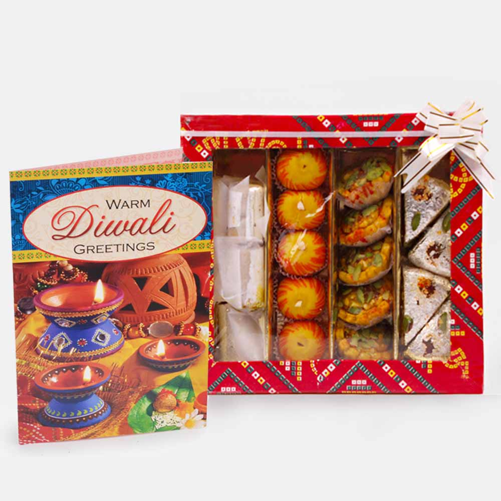 Flowers and Mithai-Assorted Sweet with Diwali Card