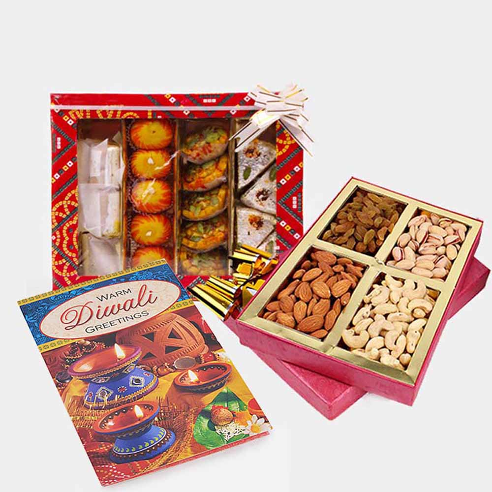Assorted Sweet and Assorted Dry fruits and Diwali Card