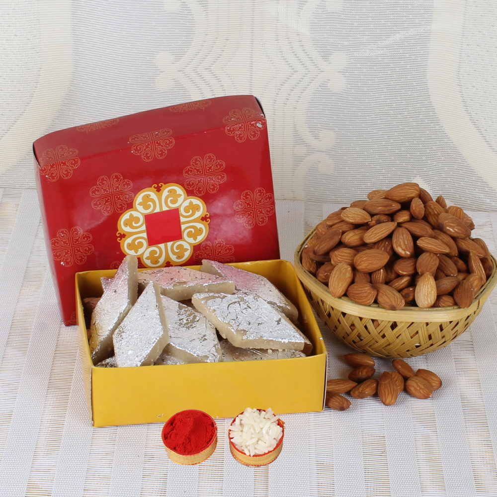 Bhai Dooj Same Day Gift of Almond and Kaju Sweet
