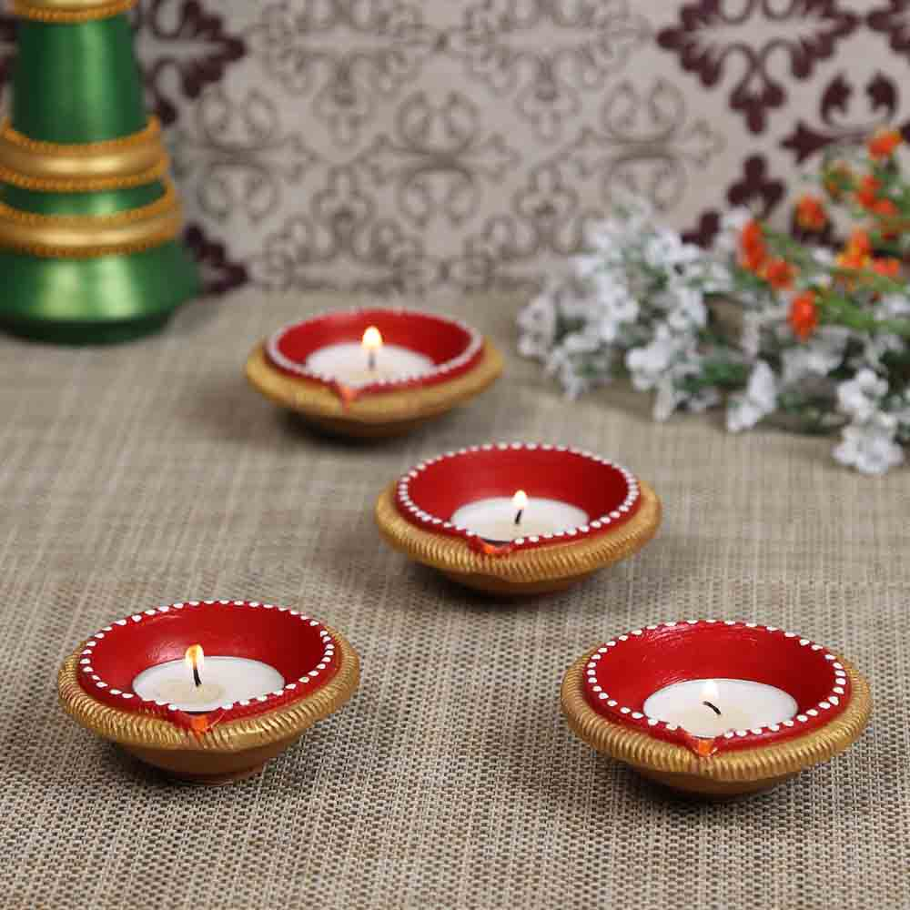 Teracotta Diyas for Diwali - Set of 4