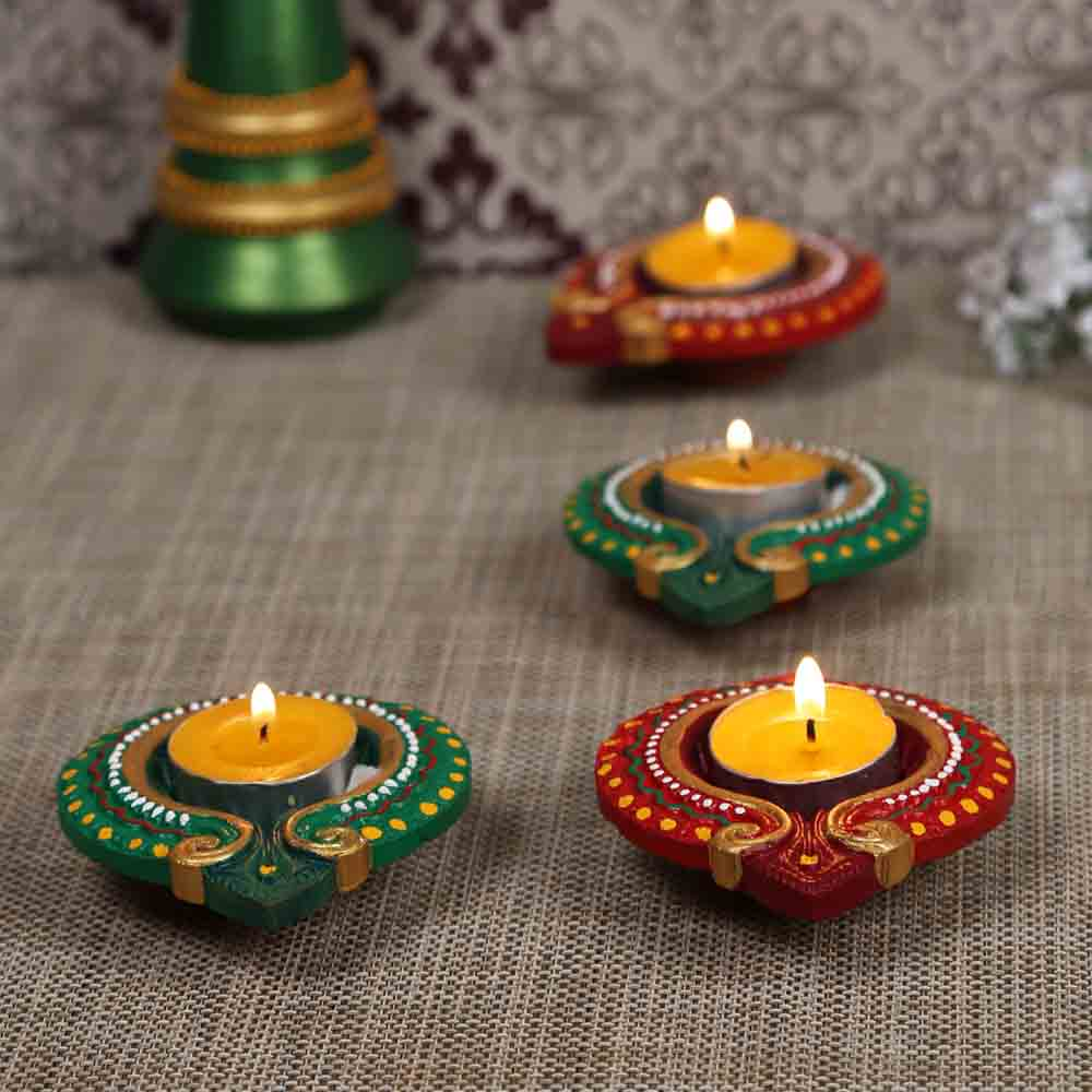 Teracotta Traditional Design Diyas for Diwali - Set of 4