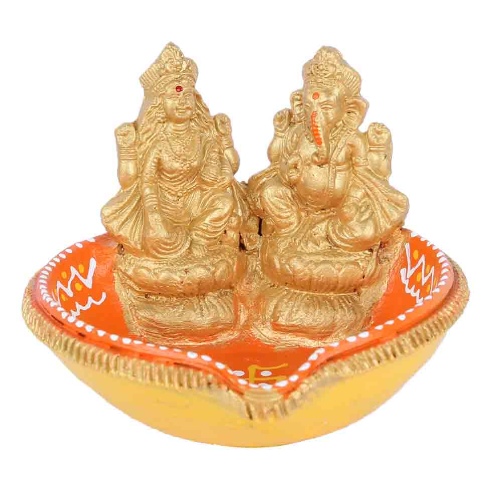 Teracotta Laxmi Ganesha Diya for Diwali - 1 pc