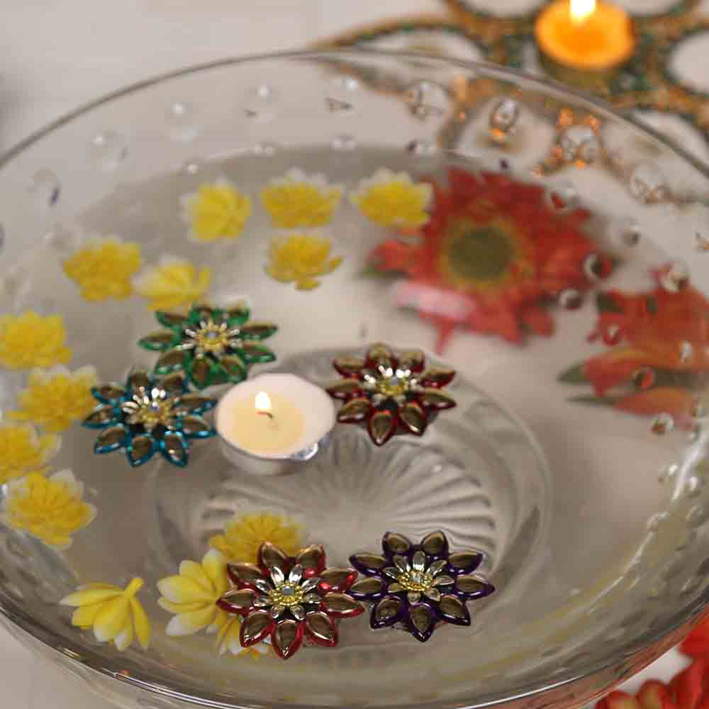 Diwali Candles-Smokeless Candle with Floating Showpieces - set of 5