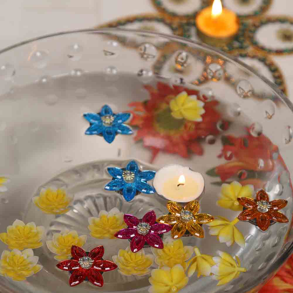 Diwali Candles-Beautiful Set of crystal Floaters and candle - set of 5