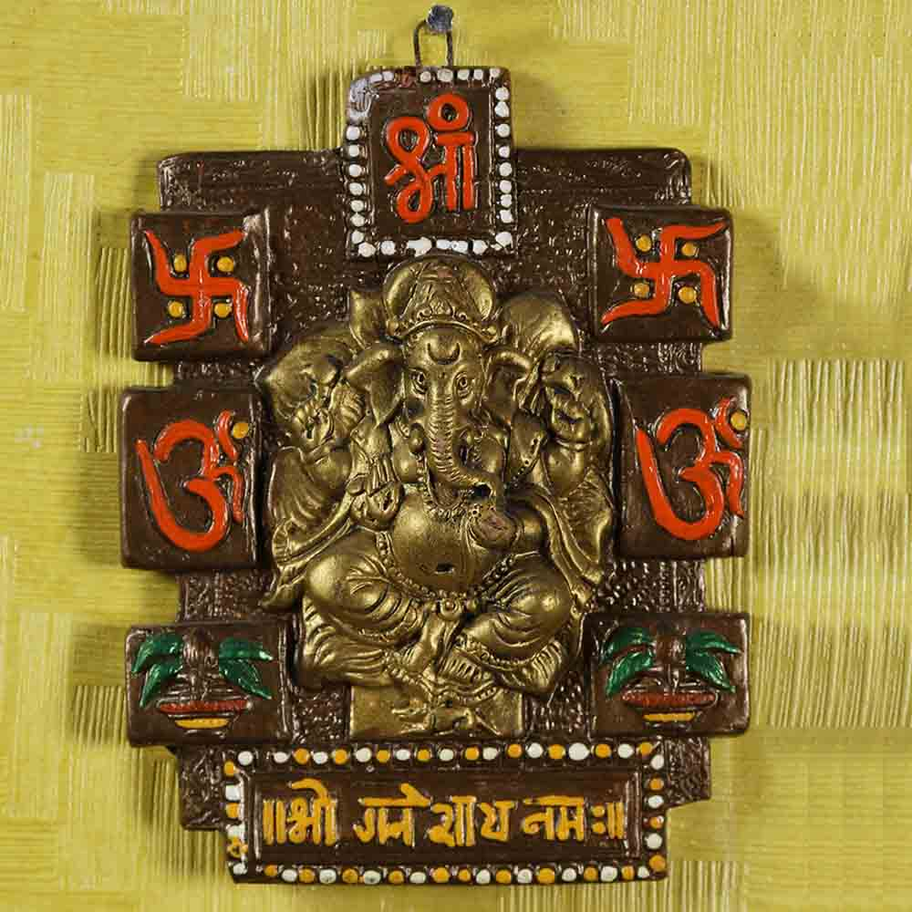Ganpati wall hanging in Terracotta
