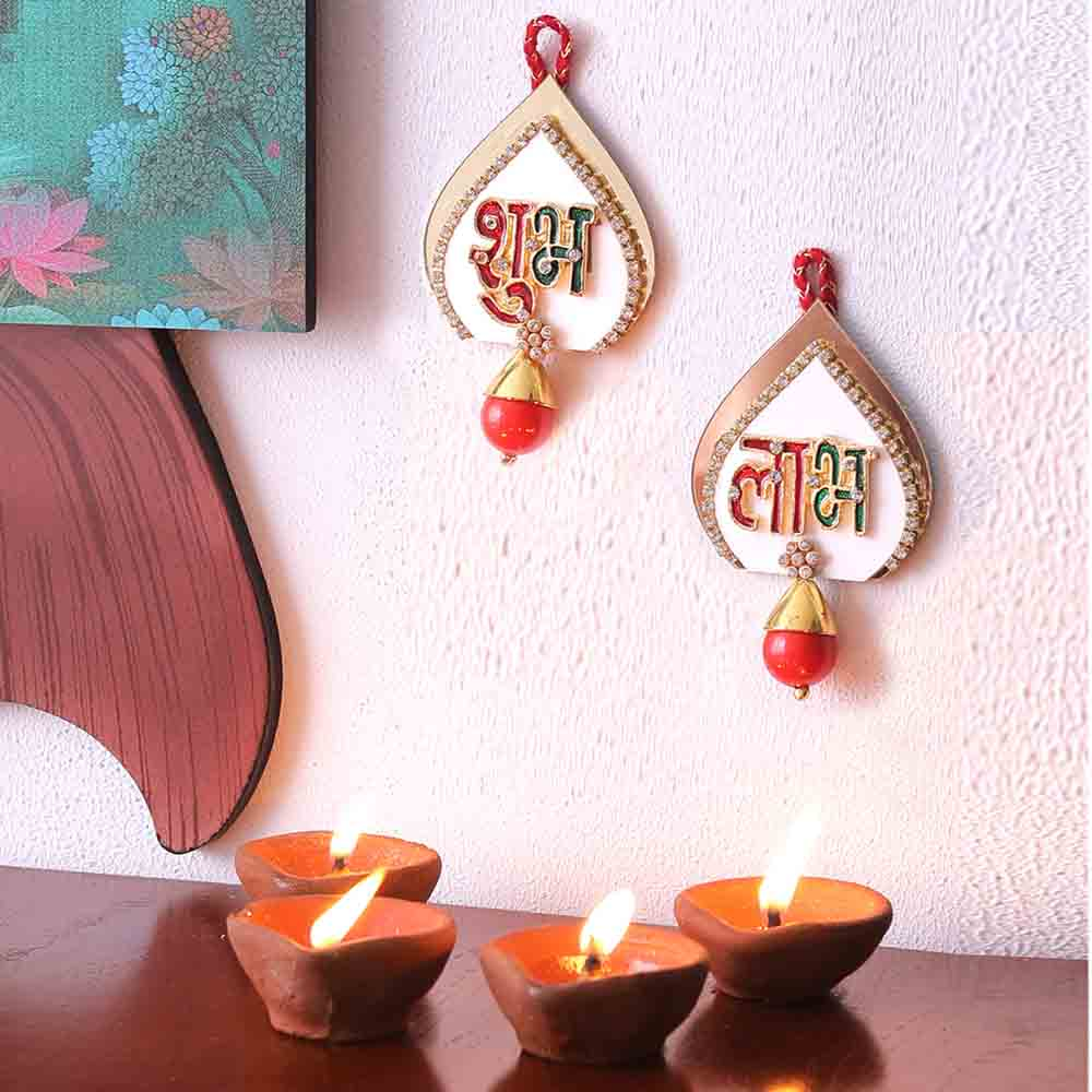 Red Drop Embellished Shubh Labh Door Hanging
