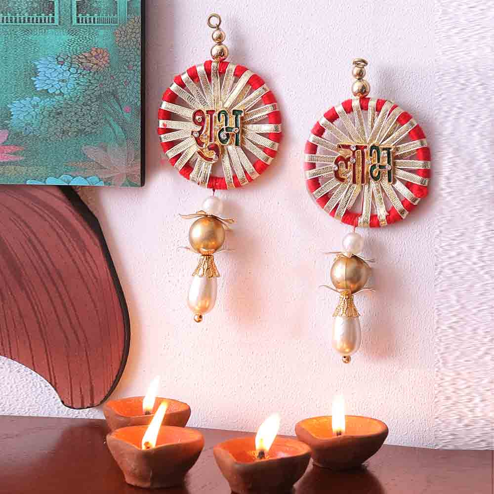 White Pearl Drop Shubh Labh Door Hanging