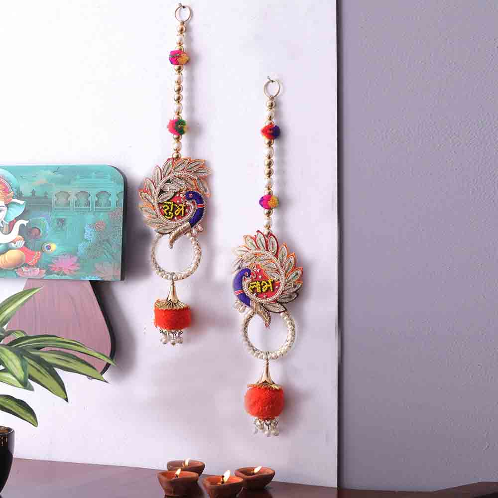 Torans & Wall Hanging-Orange Cotton Ball Drop peacock design Shubh Labh Door Hanging