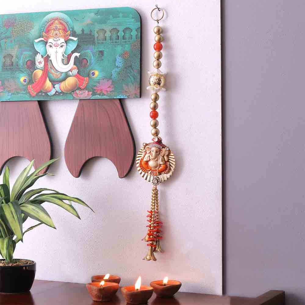 Orange & Gold Beads Ganesha Motif Door Hanging