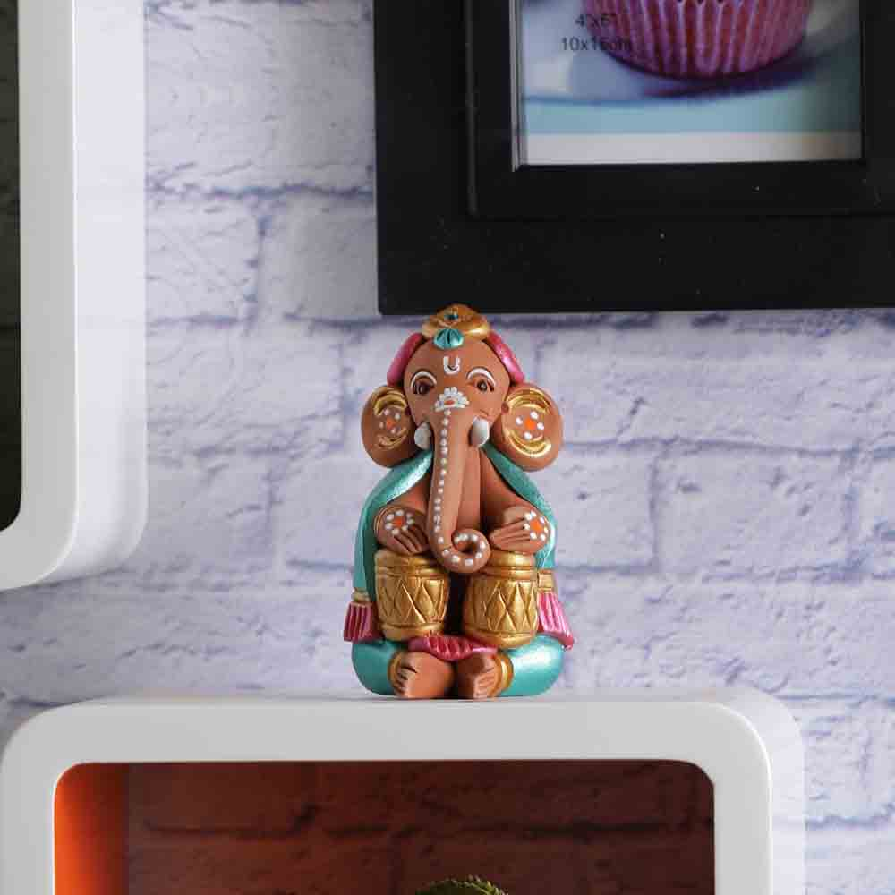 Terracotta Ganesh with Tabla Showpiece