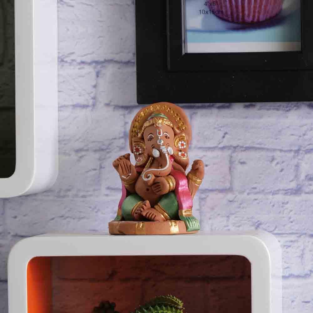 Terracotta Sitting Ganesh Showpiece