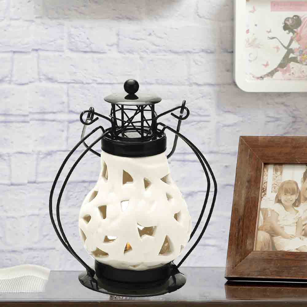 Floral Cut Pure White Ceramic Wind Lantern Tea Light Holder