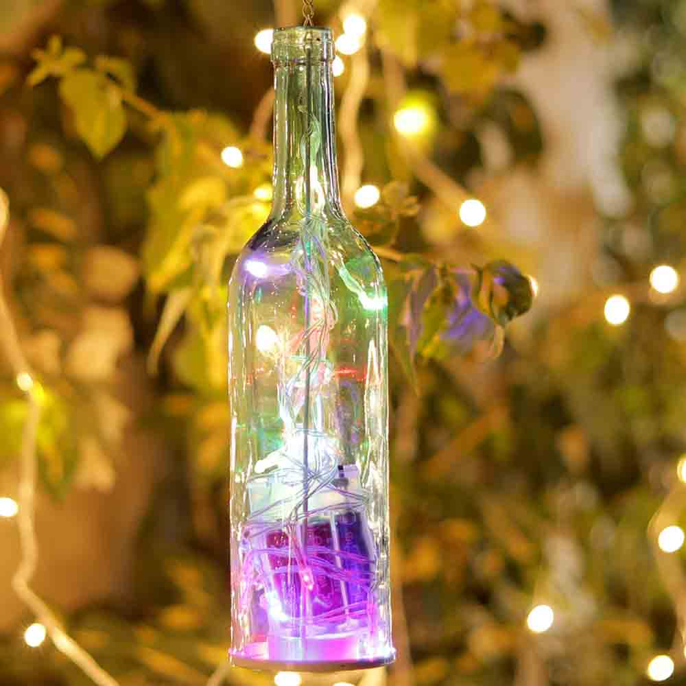 Transparent Bottle Style Hanging Tealight Holder