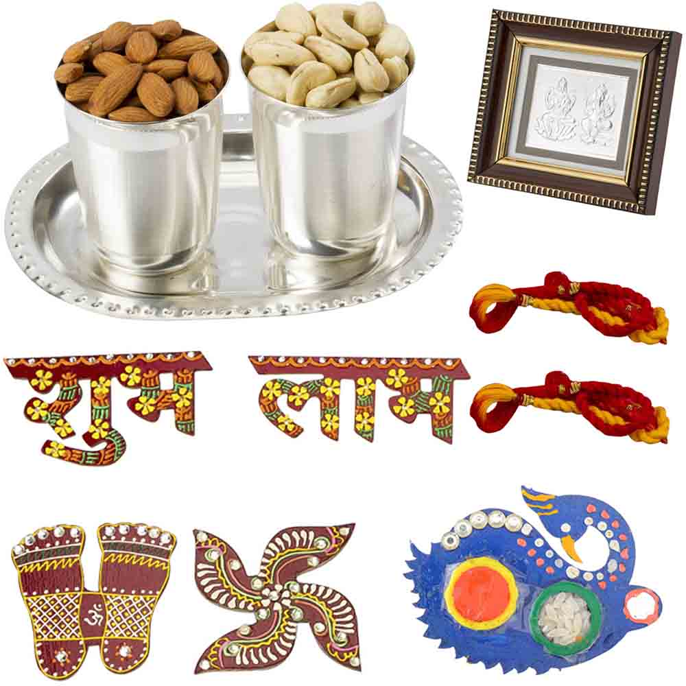 Bhai Dooj Gifts-Sparkling Silver n Crunchy Goodness Diwali n Bhai Dooj Greetings for 2 brothers