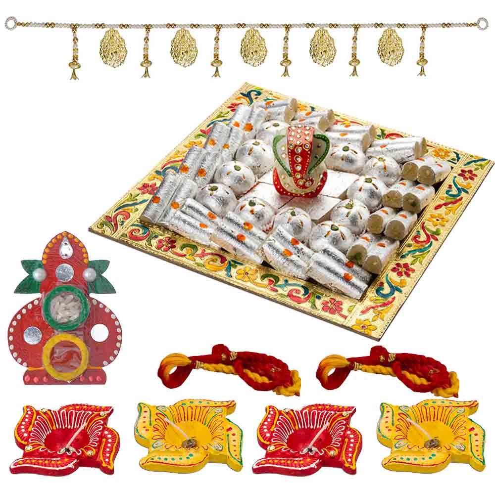 Bhai Dooj Gifts-Bikanervala Kaju Excess Diwali n Bhai Dooj Greetings for 2 brothers